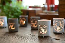 Pastoral Style Christmas Deer Round Tealight Candle Holder Lantern Xmas Decor