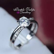 Stamped Solid 925 Sterling Silver Swarovski Diamond 8 Heart8Arrow Round Cut Ring
