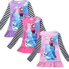 Kids Grils Clothing Frozen Anne Elsa Tops Long Sleeve Striped Shirts 3-8 Years
