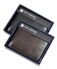 Umo Lorenzo Men's Bi-Fold Hand-Crafted Genuine Leather Wallet