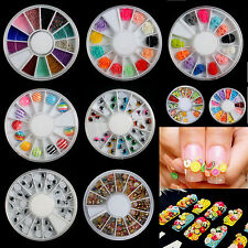 Hot Clay Fimo 3D Nail Art False Nails Decoration -Fruit Flowers Candy Butterfly