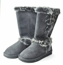 Boots - Women - QUPID SUEDE  WINTER BOOTS.w/ Fur Trim & Buckle - Black