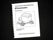 Toastmaster Bread Maker Machine Directions Instruction Manuals & Recipes Various