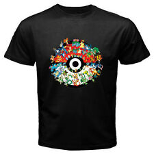 New Pokemon Starter Pokeball Monster Cartoon Game Men's Black T-Shirt Size S-3XL