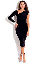Black Asymmetrical Ruched Bejeweled Long Sleeve Fitted Party Midi Dress