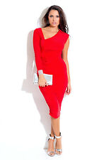 Red Asymmetrical Ruched Bejeweled Long Sleeve Fitted Party Midi Dress