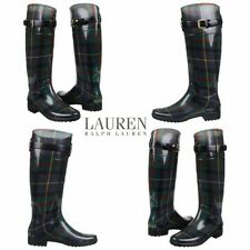 NWB Lauren Ralph Lauren Women's Rossalyn II Fashion Rain Boots Green Plaid Tall