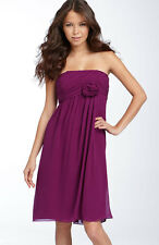 NEW $128 Suzi Chin Maggy Boutique Rosette Trim Chiffon Purple Dress Bridesmaid