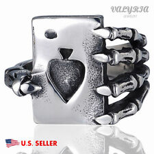 316L Stainless Steel Men's Casino Biker Ring skull Claw Poker Spade USA 8-13