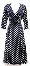 New Ladies Blue Slinky Deco Polka Dot Retro WW2 Land girl 1940s 50s  Tea Dress