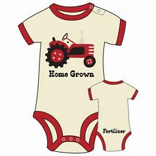 Lazy One Infant Boys Creeper Onesie Home Grown Tractor Cream Red Fertilizer