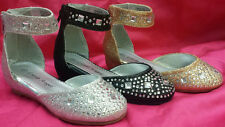 NEW Girls PAGEANT WEDDING P809E Glitter Round Toe Ankle Strap Heels Bowtie Shoes