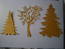 DIE CUT AND EMBOSSED 10 FROSTED,5 GRAND OAK OR 5 XL XMAS TREES ALL COLOURS XMAS