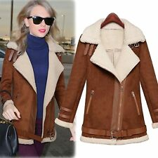 Women Celebrity Winter Casual Chic Brown Faux Shearling Lining Suede Coat Jacket