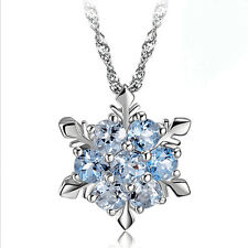 925 Sterling Silver Snowflake Crystal Pendant Necklace Frozen Princess Blue