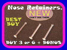 3 or 6(with 3 FREE) Clear Flat Head Nose Bone/Pin/Stud/Ring Retainers, 22 gauge