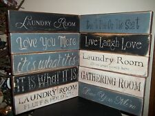 Wood Signs Distressed Aged VTG Style Prim Decor Block Signs Country Rustic Signs