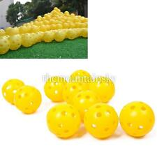 2/10Pcs Airflow Hollow Perforated Plastic Golf Practice Balls Yellow Durable
