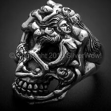 Erotic Nude Silver Skull Ring - Big Heavy & Naked **See the Hidden Detail  ?