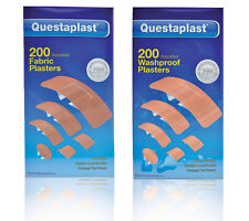 200 Assorted Washproof or Fabric Plasters - Questaplast - Free P&P! - Breathable
