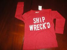 2T OR 3T NWT Red L/S Crewcuts Shipwrecked Tee Pirate Sailor Sailing
