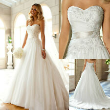 White Ivory A Line Wedding Dress Bridal Gown Custom Size 6 8 10 12 14 16 18 20+