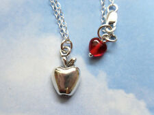 Apple for Teacher necklace - sterling silver, red heart