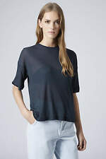 TOPSHOP BOUTIQUE 25£ NEW BLACK CROP RIB T SHIRT TOP CASHMERE  RAGLAN 34 36 38 40