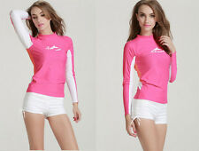 Women's Long Sleeve Rash Guards Tops Scuba Diving Jump Suit Swimwear Surf Suit