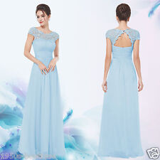 Baby Blue Lace Long Evening Formal Party Prom Dress Gown Size 10-18 UK NO 10