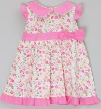MINI MOI BABY GIRL FLORAL BOW DRESS WITH PETER PAN COLLAR 0-3MTHS - New