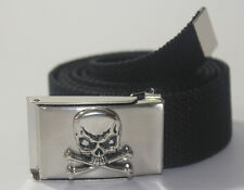 NEW CHROME SKULL PIRATE BUCKLE ADJUSTABLE CANVAS MILITARY WEB BLACK BELT MEN