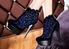 Womens Sexy Platform Stiletto Frosted Zipper Shoes Club Elegent Ankle Boots Size