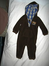 """Carter's-1 Piece Brown Hoodie Suit with Plaid Hood & """"Tough Pup"""" on Chest"""