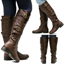 New Womens BJ6 Brown Strappy Buckle Riding Knee High Boots Sz 5.5 to 10