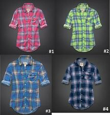 Hollister Women Picnic Beach Preppy Classic Plaid Shirt Button Down Easy Fit NWT