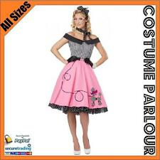Womens 50s 60s 70s Retro Grease Diner Old School Dress Costume All Sizes