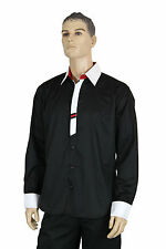 Mens Black VIP Button Up Long Sleeve Fitted Formal White Collar Dress Shirt
