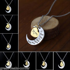 Personalize Silver Pendant Necklace I LOVE YOU TO THE MOON AND BACK Valentine