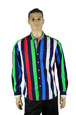 Mens Red Blue Navy Green White Striped VIP Button Up Long Sleeve Dress Shirt