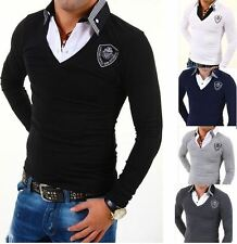 Mens Carisma Long Sleeve Slim Fit Smart Casual Double Collar T Shirt Grey Black