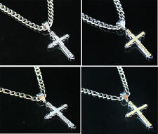 Men Stainless Steel Cuban Curb & Figaro Chain Necklace Silver Gold Cross Pendant