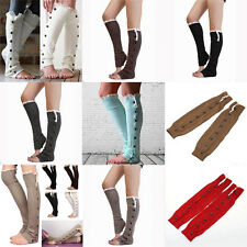 Women Crochet Knit With Button Leg Warmers Lace Trim Toppers Boot Socks Cuffs