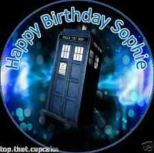 Dr Who Tardis Cake Topper personalized/Plain Round EDIBLE Ricepaper