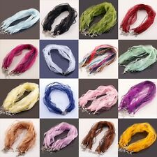 Nice 10Pcs Organza Voile String ribbon Cord Necklace Lobster Clasp Chain 18''