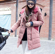 Free Retro Check Womens Thicken Winter Hooded Down Jacket Coat Outwear Plus Size