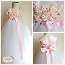 MADE TO ORDER White & Pink Shabby Chic Vintage Flower Girl Dress Infant to 10
