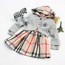 NEW GIRLS Baby Toddler Clothes 2PC suit(Hooded Jacket+Dress)