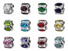 925 Sterling Silver Charm crystal spacer colors Fit 3mm European Bracelet