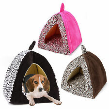 Leopard Print Medium Large Warm Soft Pet Dog House Cat Kennels Bed Cushion